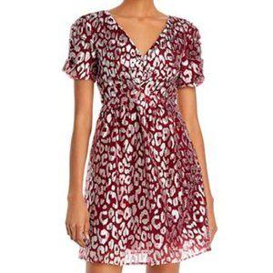 AQUA Metallic Leopard-Pattern Dress